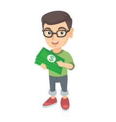 Caucasian boy in glasses holding money in hands vector