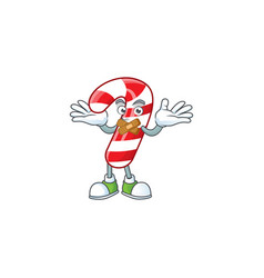 Christmas candy cane mascot cartoon character vector