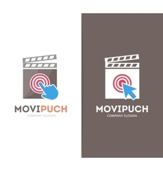 clapperboard and click logo combination vector image