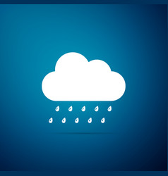cloud with rain icon isolated on blue background vector image