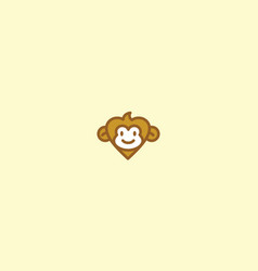 cute monkey love logo icon vector image