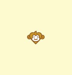 cute monkey love logo icon vector image