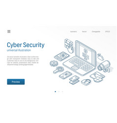 cyber security modern isometric line vector image