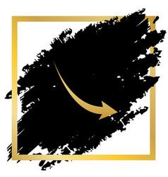 Declining arrow sign golden icon at black vector