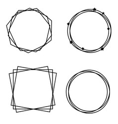 Decorative frame borders geometric simple shapes vector