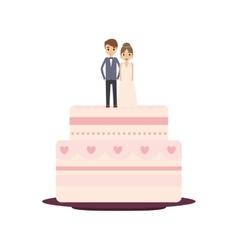Delicious wedding cake with couple vector