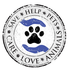 dog paw hand love sign icon pets symbol textured vector image