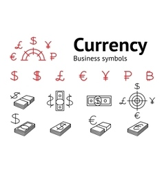 Dollar Euro Pound Yen Ruble Bitcoin currency vector image
