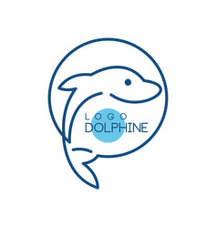 dolphine logo nautical design element in blue vector image
