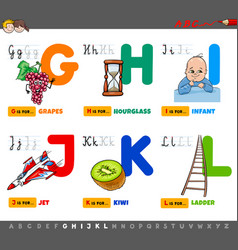 Educational cartoon alphabet letters set vector