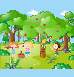 farm scene with kids picking apples vector image