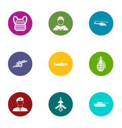 Fate military icons set flat style vector