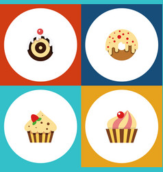 Flat cake set of confectionery sweetmeat pastry vector