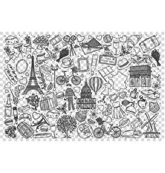 france doodle set vector image