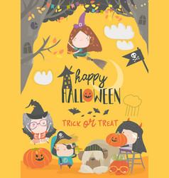 Funny children wearing in halloween costumes vector