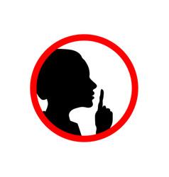 Girl face profile with hand shhh forbidden icon vector
