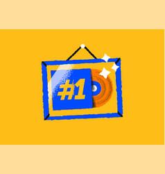 gold music album award frame cartoon icon isolated vector image