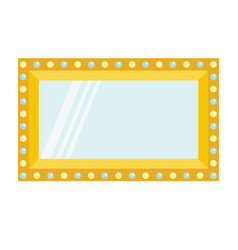 Golden retro makeup mirror with electric light vector