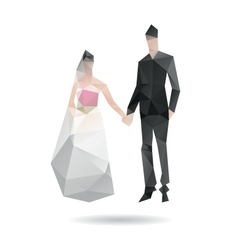 Groom and bride isolated on a white vector