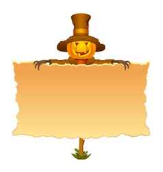 Halloween invitation with scarecrow vector