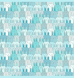 Hand drawn cute bunny pattern background vector