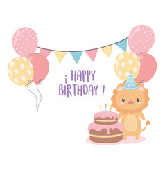 Happy birthday lion cake balloons flags vector
