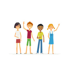 Happy standing children - cartoon people vector