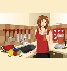 healthy woman drinking fruit juice vector image