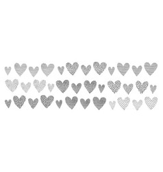 hearts shapes with hand drawn texture vector image
