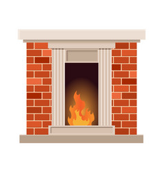 Home fireplace with fire vintage design of vector