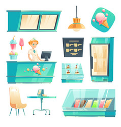 ice cream shop interior set with seller at counter vector image