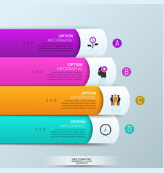 infographic design template with 4 rectangular vector image