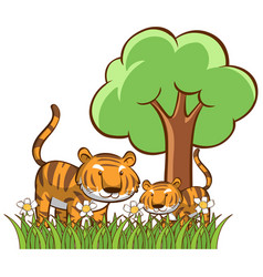 isolated picture tigers in garden vector image