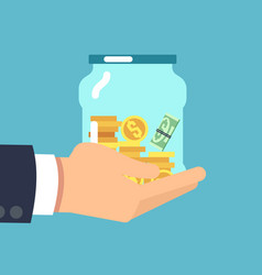 jar with money in hand saving money flat vector image