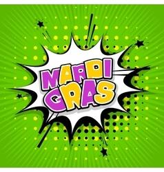Lettering Mardi Gras green back vector image