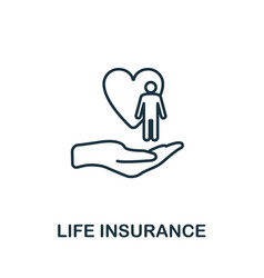 life insurance outline icon thin line style icons vector image