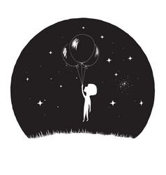 Little boy fly with balloons vector