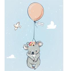 Little koala with balloon vector