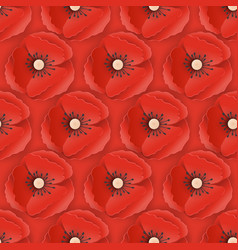 memorial day seamless pattern with paper cut poppy vector image