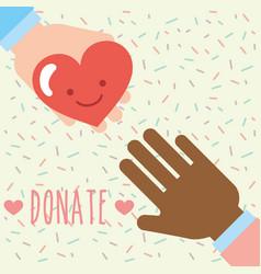 multiethnic hands heart love kawaii donate charity vector image