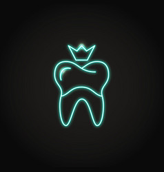 Neon dental crown icon in line style vector