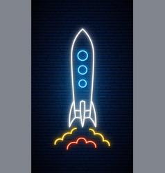 Neon rocket sign bright glowing spaceship icon vector