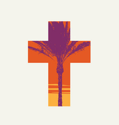 Palm sunday cross isolated on a light background vector
