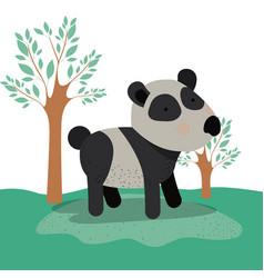panda bear animal caricature in forest landscape vector image