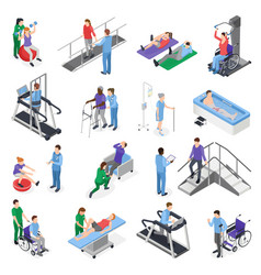 Physiotherapy rehabilitation isometric set vector