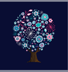 pink flower tree art concept for spring season vector image