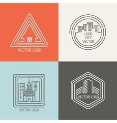 Real estate house linear logos emblems set vector image
