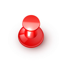 Realistic plastic glossy red push pin 3d vector