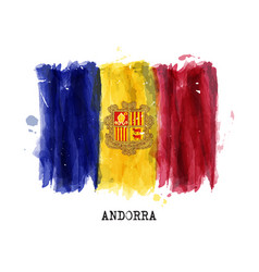 realistic watercolor painting flag andorra vector image