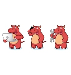 Red Hippo with laptop vector image